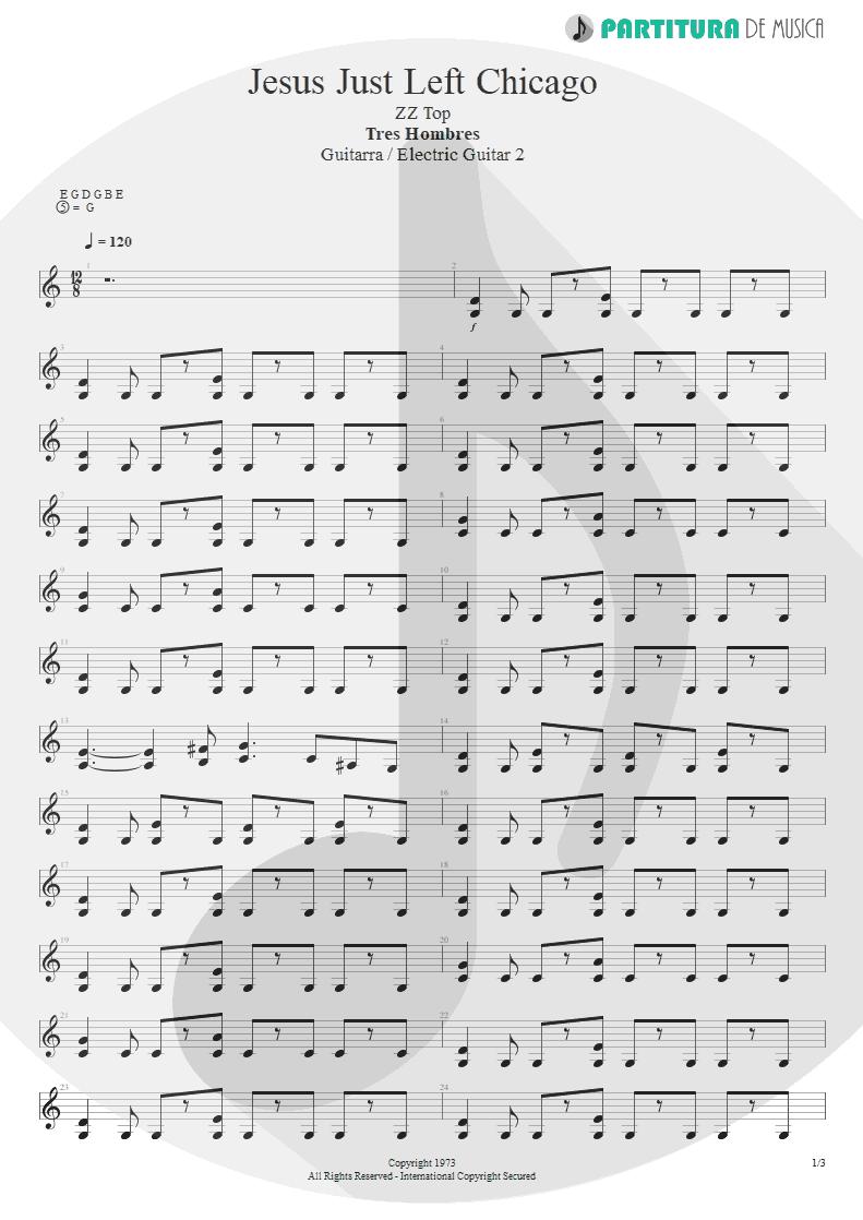 Partitura de musica de Guitarra Elétrica - Jesus Just Left Chicago | ZZ Top | Tres Hombres 1973 - pag 1
