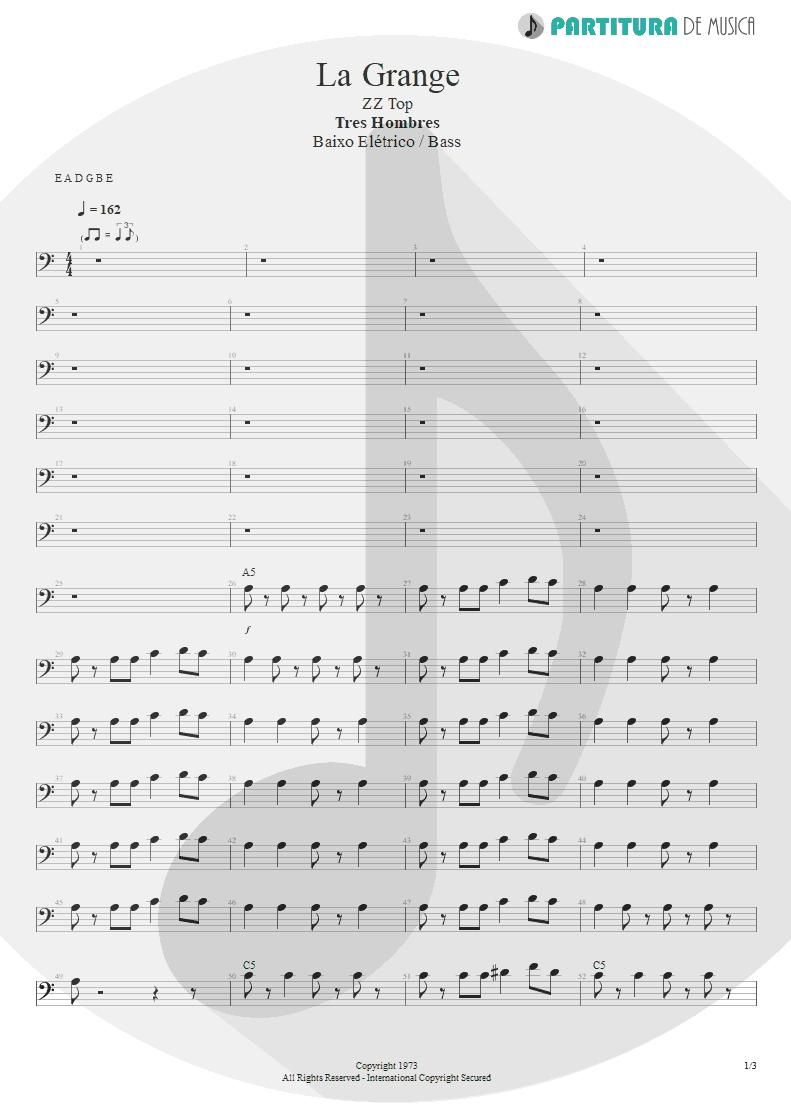 Partitura de musica de Baixo Elétrico - La Grange | ZZ Top | Tres Hombres 1973 - pag 1