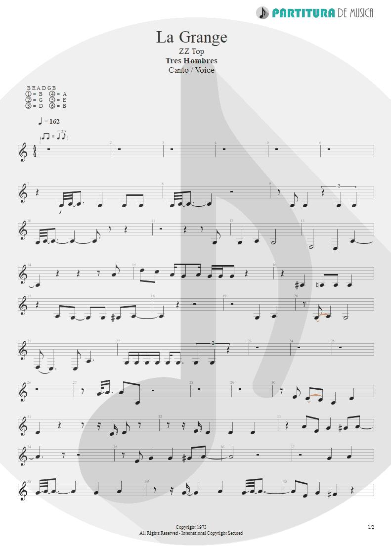Partitura de musica de Canto - La Grange | ZZ Top | Tres Hombres 1973 - pag 1