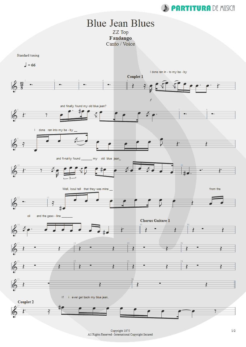 Partitura de musica de Canto - Blue Jean Blues | ZZ Top | Fandango! 1975 - pag 1