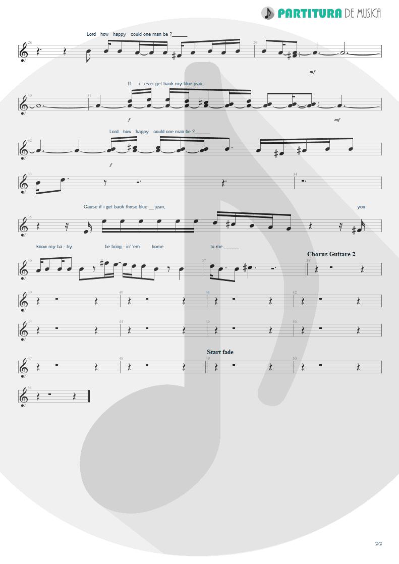 Partitura de musica de Canto - Blue Jean Blues | ZZ Top | Fandango! 1975 - pag 2