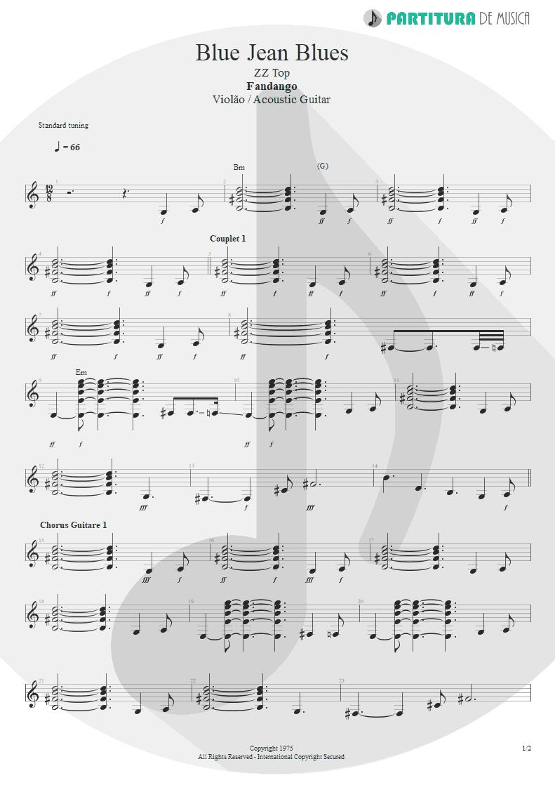 Partitura de musica de Violão - Blue Jean Blues | ZZ Top | Fandango! 1975 - pag 1