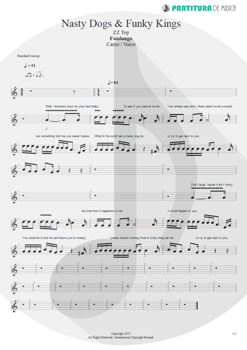 Partitura de musica de Canto - Nasty Dogs & Funky Kings | ZZ Top | Fandango! 1975 - pag 1