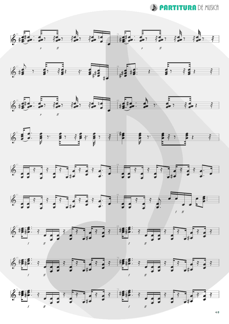 Partitura de musica de Guitarra Elétrica - Cheap Sunglasses | ZZ Top | Degüello 1979 - pag 4