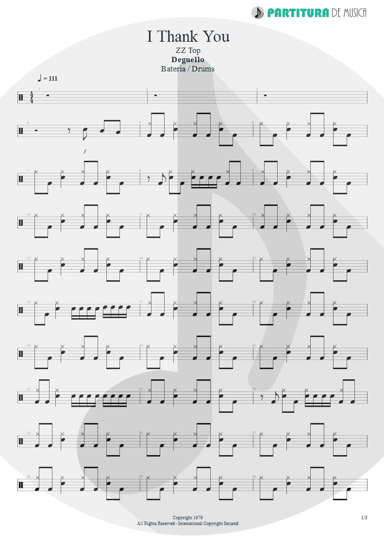Partitura de musica de Bateria - I Thank You | ZZ Top | Degüello 1979 - pag 1