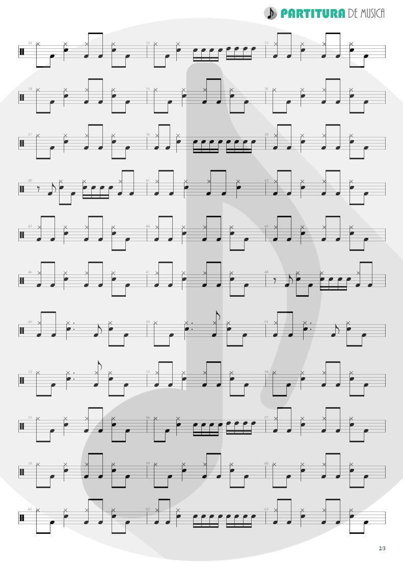 Partitura de musica de Bateria - I Thank You | ZZ Top | Degüello 1979 - pag 2