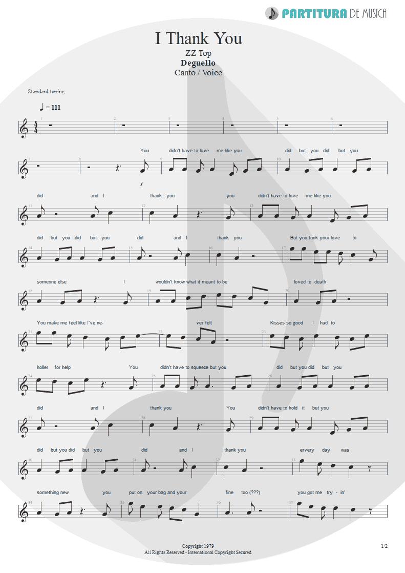 Partitura de musica de Canto - I Thank You | ZZ Top | Degüello 1979 - pag 1
