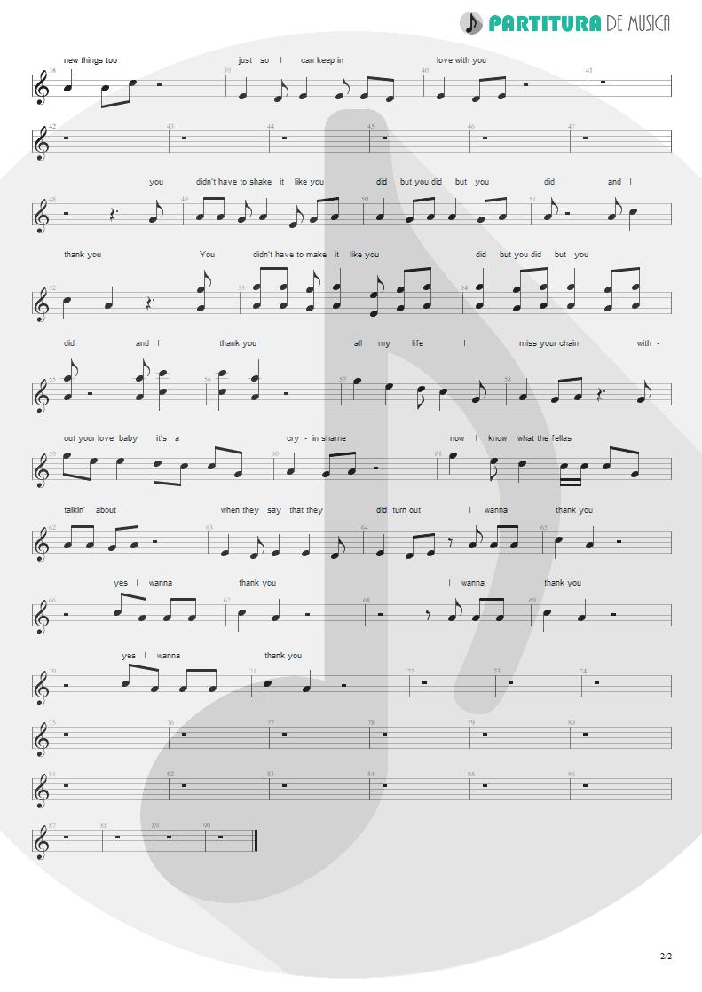 Partitura de musica de Canto - I Thank You | ZZ Top | Degüello 1979 - pag 2