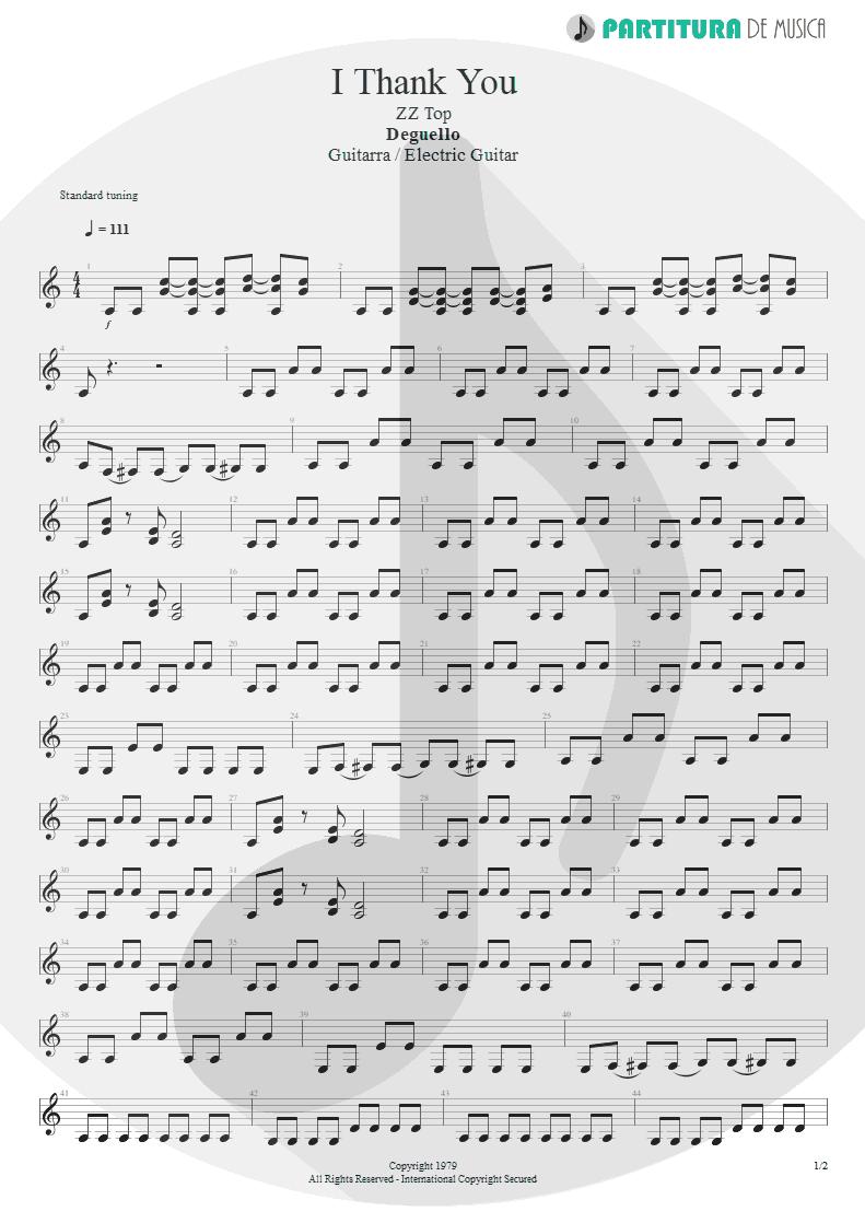 Partitura de musica de Guitarra Elétrica - I Thank You | ZZ Top | Degüello 1979 - pag 1