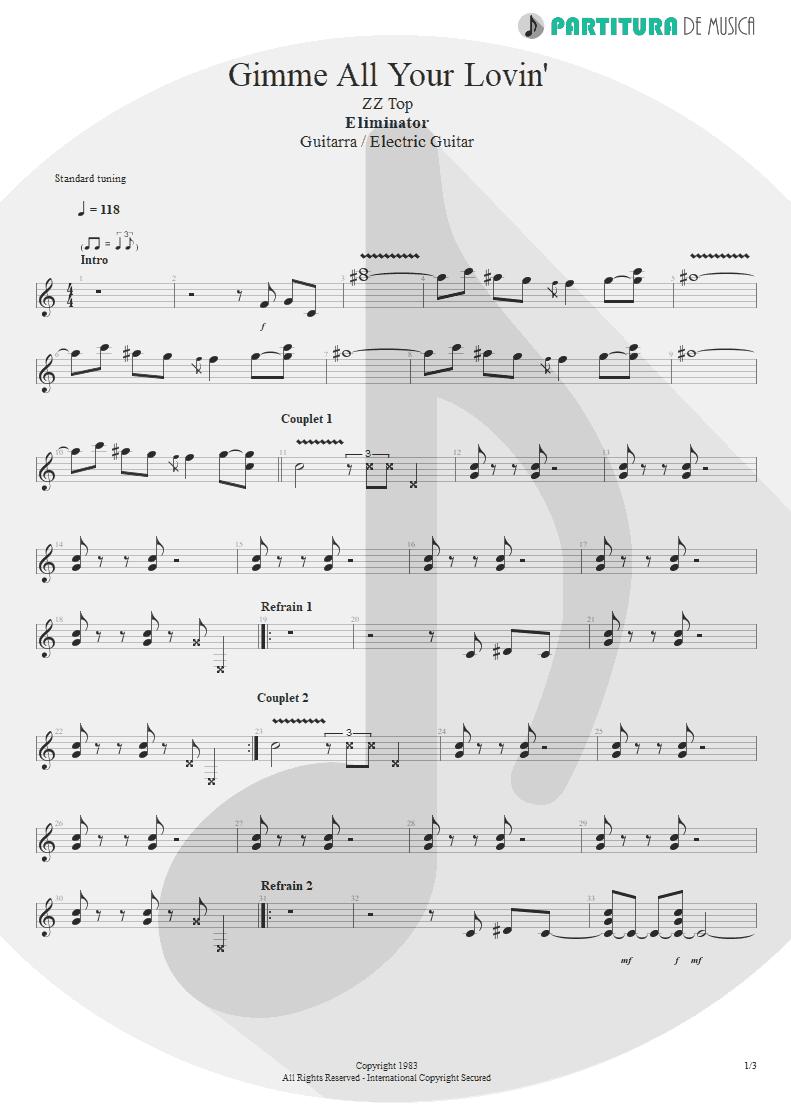 Partitura de musica de Guitarra Elétrica - Gimme All Your Lovin' | ZZ Top | Eliminator 1983 - pag 1