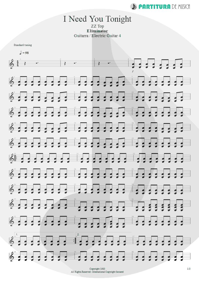 Partitura de musica de Guitarra Elétrica - I Need You Tonight | ZZ Top | Eliminator 1983 - pag 1