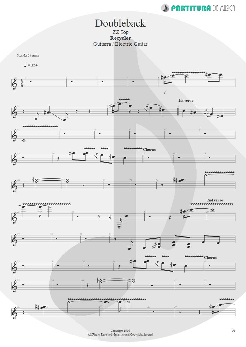 Partitura de musica de Guitarra Elétrica - Doubleback | ZZ Top | Recycler 1990 - pag 1