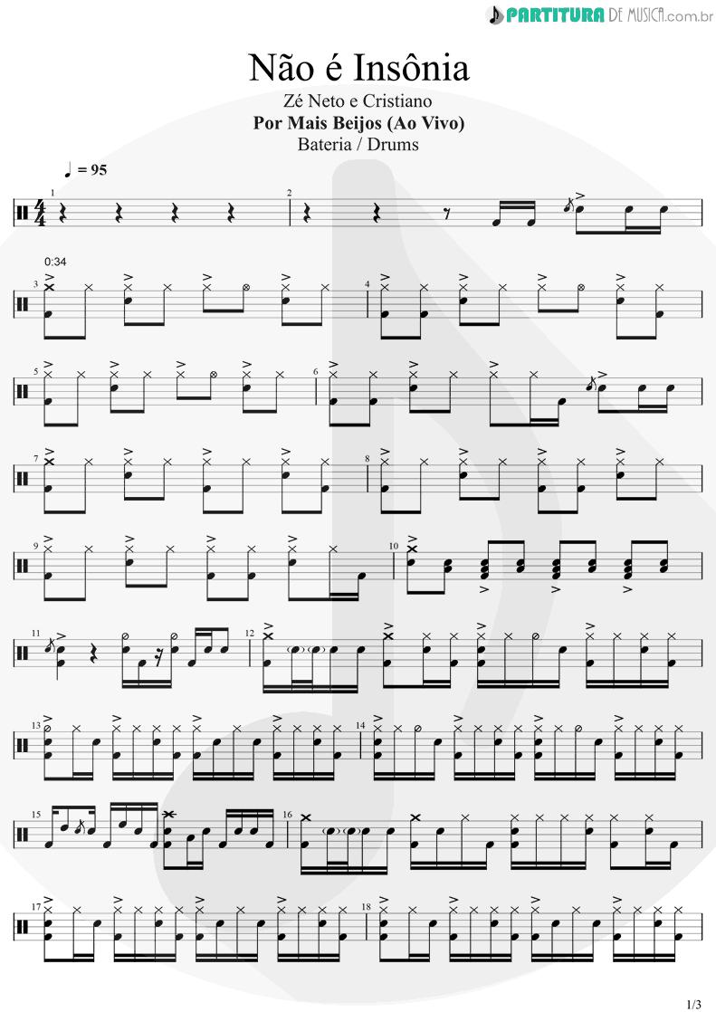 Partitura de musica de Bateria - Não é Insônia   Zé Neto E Cristiano   Por Mais Beijos (Ao Vivo) 2020 - pag 1